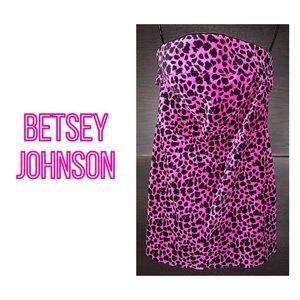 Betsey Johnson Leopard Strapless Velveteen Dress
